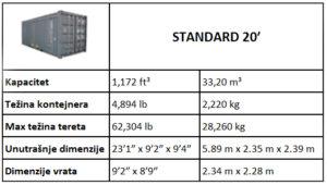 Prodaja kontejnera standard 20 ft